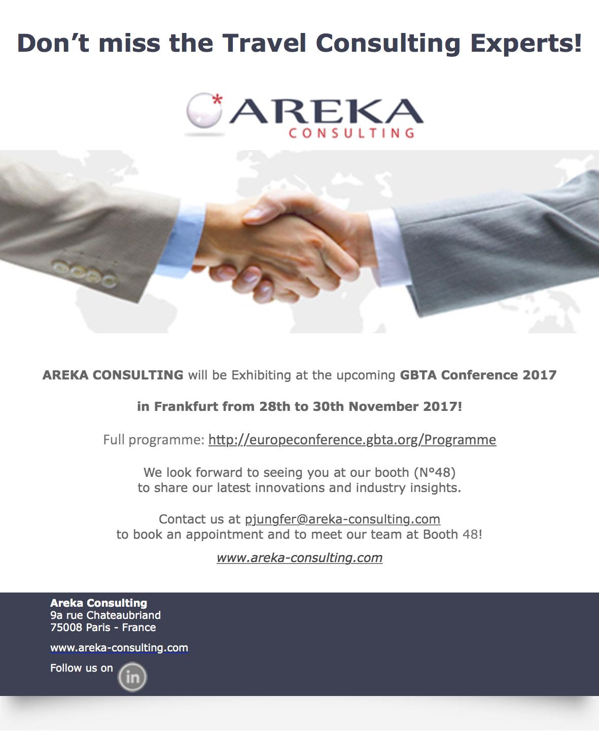 Areka Consulting at GBTA Frankfurt
